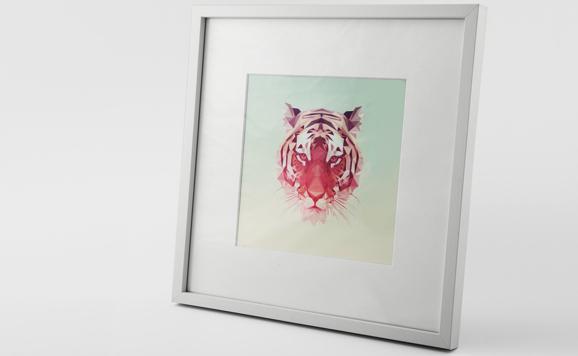 Fotoabzug hinter Glas